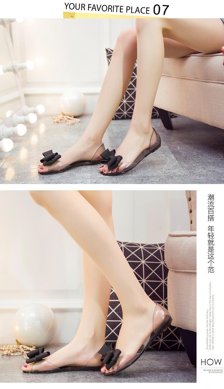 HTB1HZNraorrK1RkSne1q6ArVVXa2 Women Sandals Open Toe Summer Jelly Shoes Woman Fashion Butterfly-knot Flat Sandals Women Beach Shoes Slip On Flip Flops WSH3149