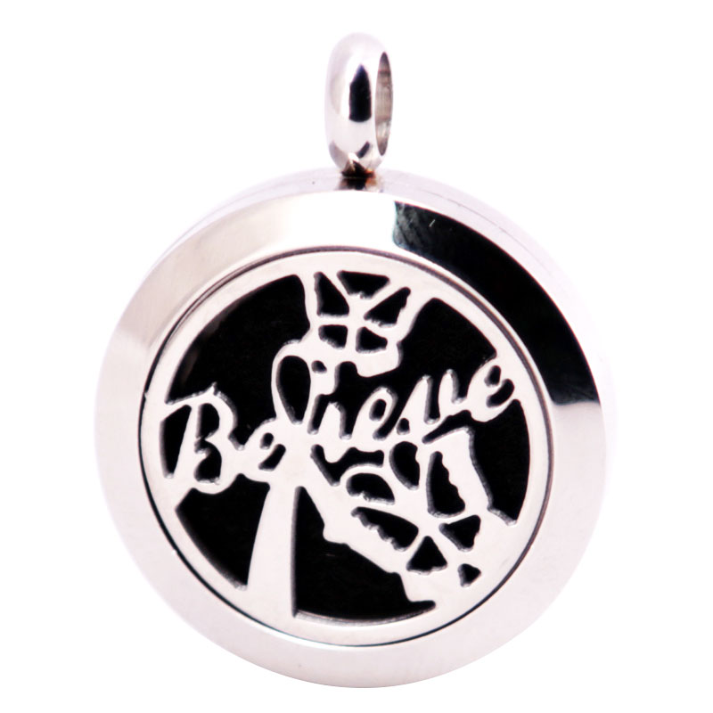 316L Stainless Steel Believe Necklace Pendant Aroma Essential Oil Diffuser Lockets Include 10pcs Felt Pads as Gift