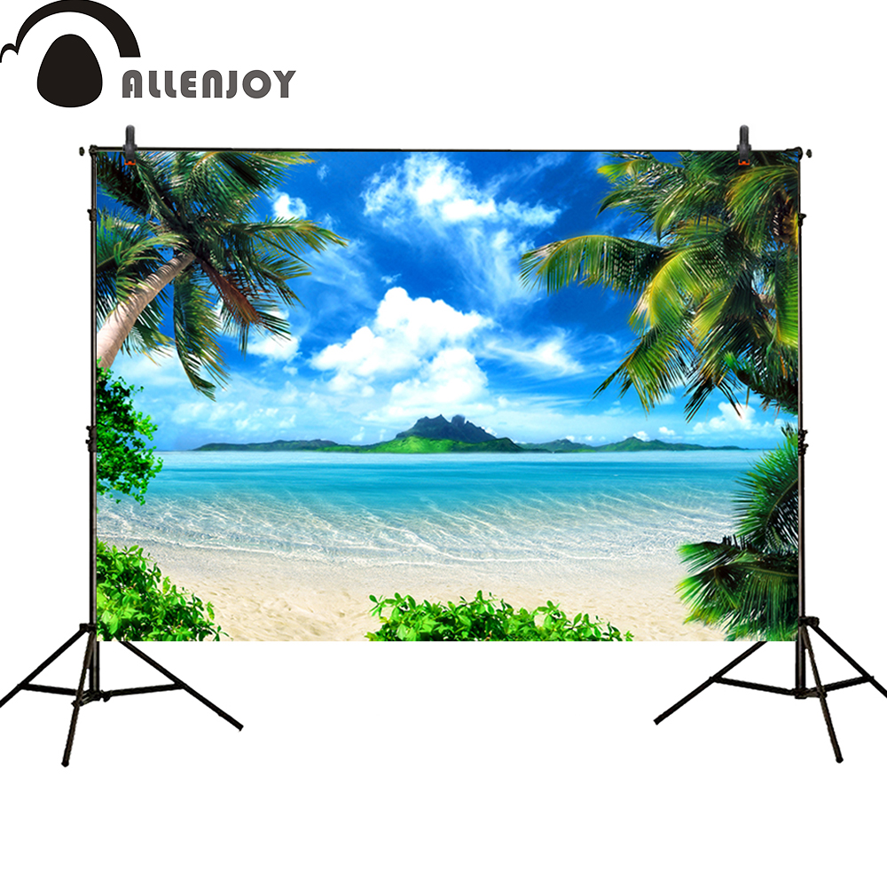 Allenjoy Photocall background Tropical sky Beach seawater coconut trees summer Birthday party background baby shower