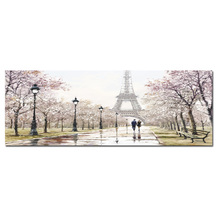Big Size Print Romantic City Couple Paris Eiffel Tower Landscape Abstract Oil Painting on Canvas Wall Art Living Room Home Decor