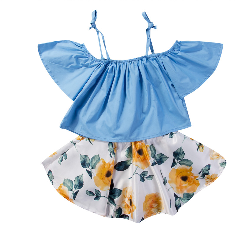 1-6Y Toddler Baby Girls Kids Cotton Strapless Off Shoulder Floral Tops Blouse Skirt Dress 2Pcs Set Kids Outfits Summer Clothes infant toddler kids baby girls summer outfit cotton striped sleeveless tops dress floral short pants girls clothes sunsuit 0 4y