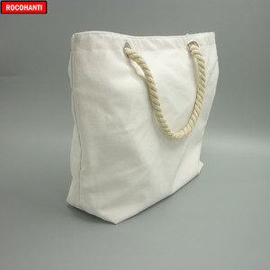 Image 3 - 10x Blank Natural Cotton Canvas Tote Bags with Zipper Rope Handle for Grocery Beach Shopping  Bag