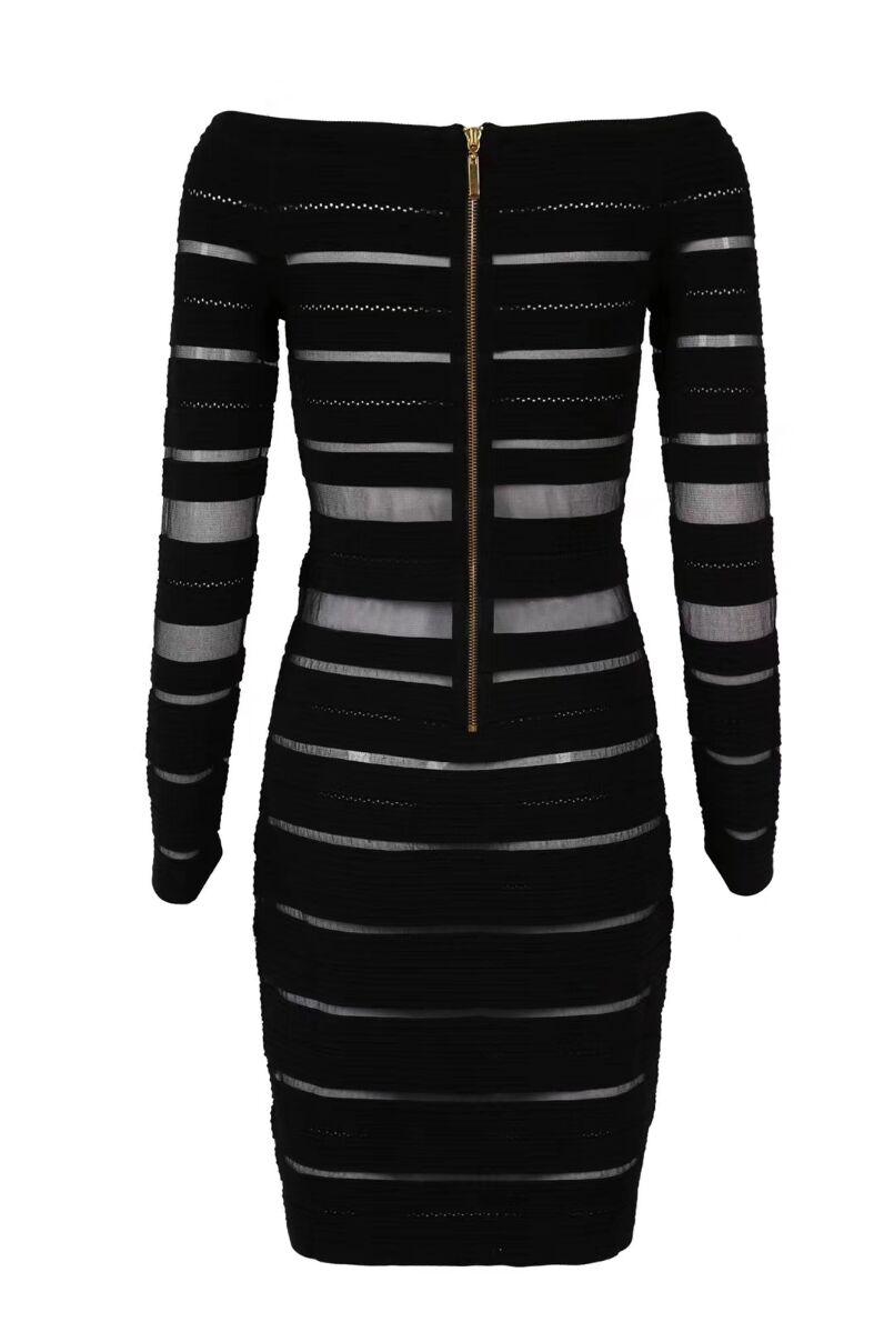 Nouvelle Haute Hors 2018 Slash Noir Longues Qualité Élégant Soirée Femmes Arrivée Robe À Célébrité Partie Cou De Bandage Maille Épaule Manches PN0vOymnw8