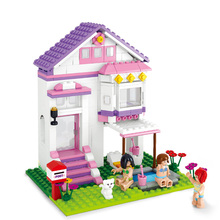 B0532 SLUBAN Girl Friends Beauty Swimming Pool Villa Model Building Blocks Enlighten Figure Toys For Children Compatible Legoe