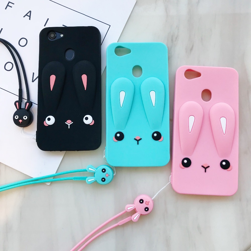 Adorable Cartoon Rabbit Case For OPPO A37 F3 F5 F7 Cover Silicon Back Cover With Lanyard
