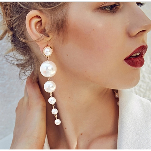 758cf5f72e422 US $2.6 30% OFF|JURAN Trendy Women Brand Elegant Created Big Statement  Simulated Pearl Long Earrings Pearls String Dangle Earrings For Wedding-in  Drop ...