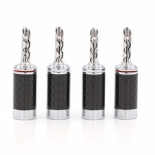 Free shipping 4pcs Rhodium Carbon fiber Banana Plug Copper Speaker Connector plug