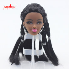Fashion Doll Head With more Black Hair Movable Joints DIY Part Accessories For 1/6 Doll Kids Dollhouse Toy Best Gift(China)