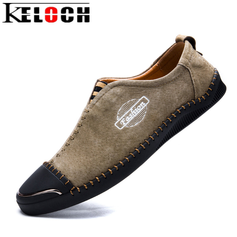 Keloch Men Fashion Loafers Breathable Casual Shoes For Men Comfortable Genuine Leather Flats Shoes Zapatos Hombre zapatillas hombre 2017 fashion comfortable soft loafers genuine leather shoes men flats breathable casual footwear 2533408w