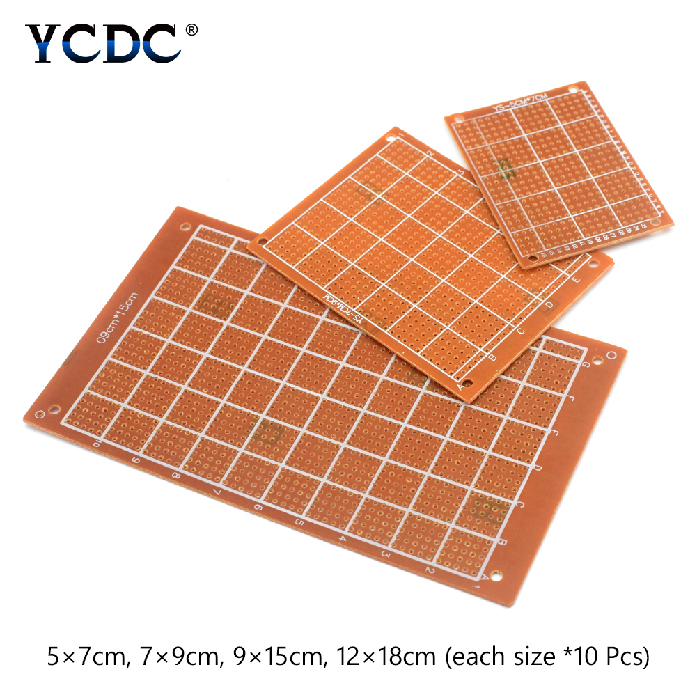 цена на 80Pcs Prototyping PCB Printed Circuit Board 4 Sizes Mixture For DIY Arduino 5x7cm 7x9cm 9x15cm 12x18cm