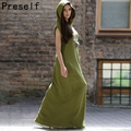 Preself Women Hooded Wrap Dresses Cotton Linen Maxi Dress Casual Party Long Shirt Sleeveless Vestido Plus Size New Summer