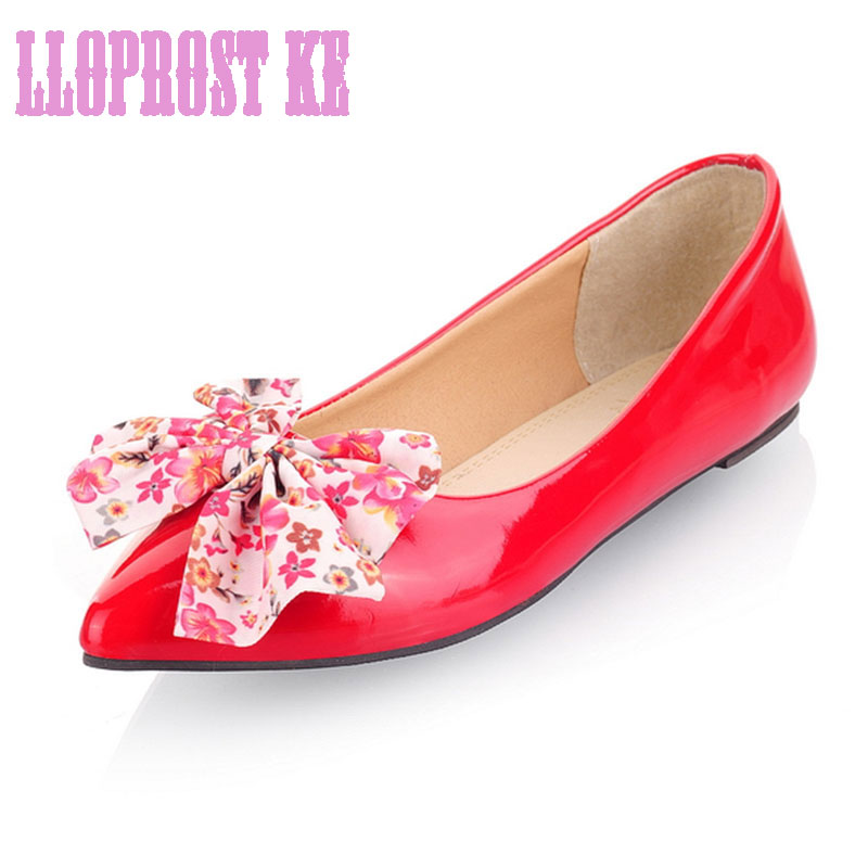 Lloprost Ke Spring/Autumn Summer Sweet Shoes Women Pointed Toe And Butterfly-knot Decoration Women Shoes Plus Size30-50LYF076 new 2017 spring summer women shoes pointed toe high quality brand fashion womens flats ladies plus size 41 sweet flock t179