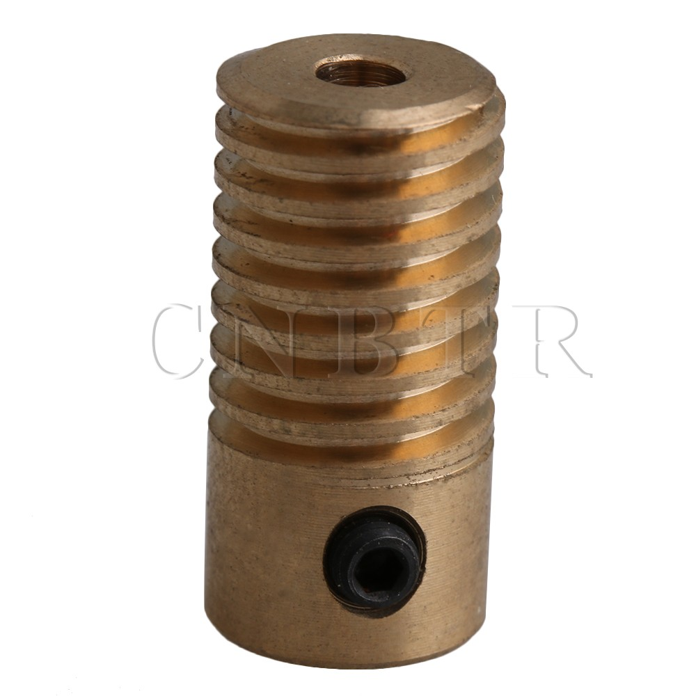 CNBTR Yellow 0.5 Modulus 5MM Hole Diameter Brass Worm Gear Shaft for Drive Gear Box Worm Wheel(Inner Dia 3mm 4mm 5mm 6mm))