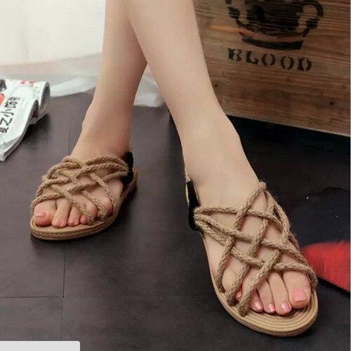zapatos de las mujeres nuevo contrajo roma escalonar cuerda de camo de las mujeres sandalias