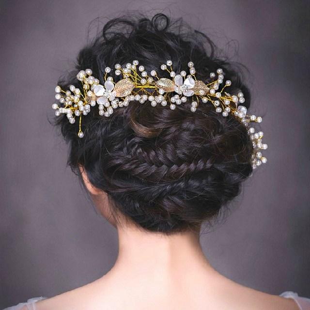 2015 Wedding Accessories Gold Plated Vintage Metallic Leaf Multi Tiny Pearls Beaded Crystal Flower Bridal Hairband