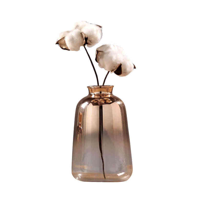Glass Vase Nordic Electroplated Gold Vase Glass Flower Vases For Home Decor Dried Flower Bottle Bar Restaurant Decoration