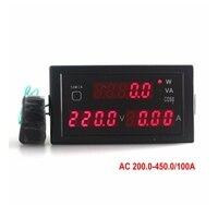 Ac 0-100a الرقمية فولت أمبير واط متر 200-450 فولت مع الأحمر led عرض/النشطة الطاقة/الطاقة واضحة/عامل الطاقة مجانية مجانا