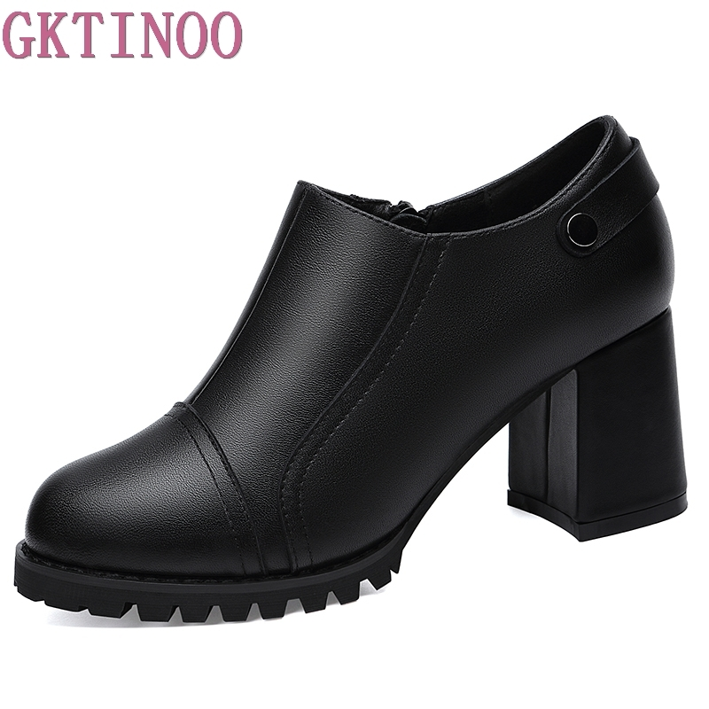 GKTINOO Fashion Women Pumps Shoes Round Toe Genuine Leather Female Single Shoes Thick Heels High Platform Ladies Shoes donna in pumps women black genuine leather high heels platform round toe thick heel women shoes new fashion sexy ladies pumps
