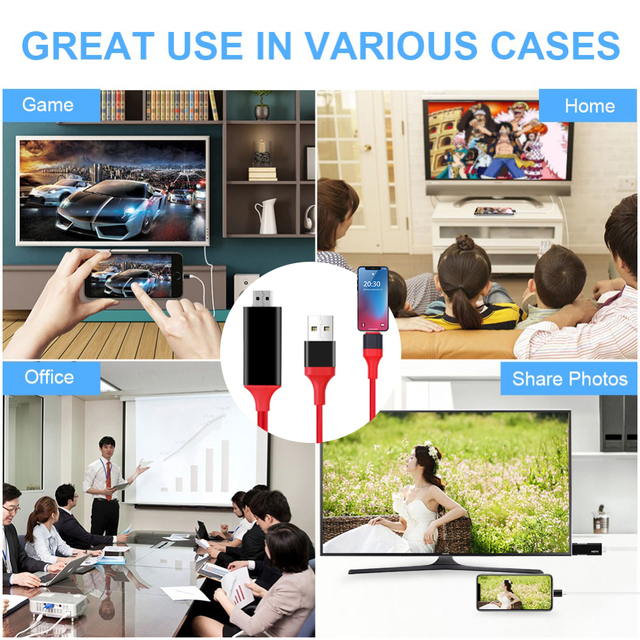 Kebidu 1,8 M 8 Pin a HDMI Cable macho HD 1080P HD HDMI Cable Adaptador convertidor Cable USB para Cable de HDTV TV AV Digital para iPhone para IOS