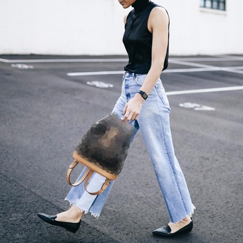 Mujeres Casual Las Denim Pantalones Moda Bolsillo Cintura Alta Verano Blue De Ropa Pierna Vintage Twotwinstyle Jeans Ancha P16gw1R