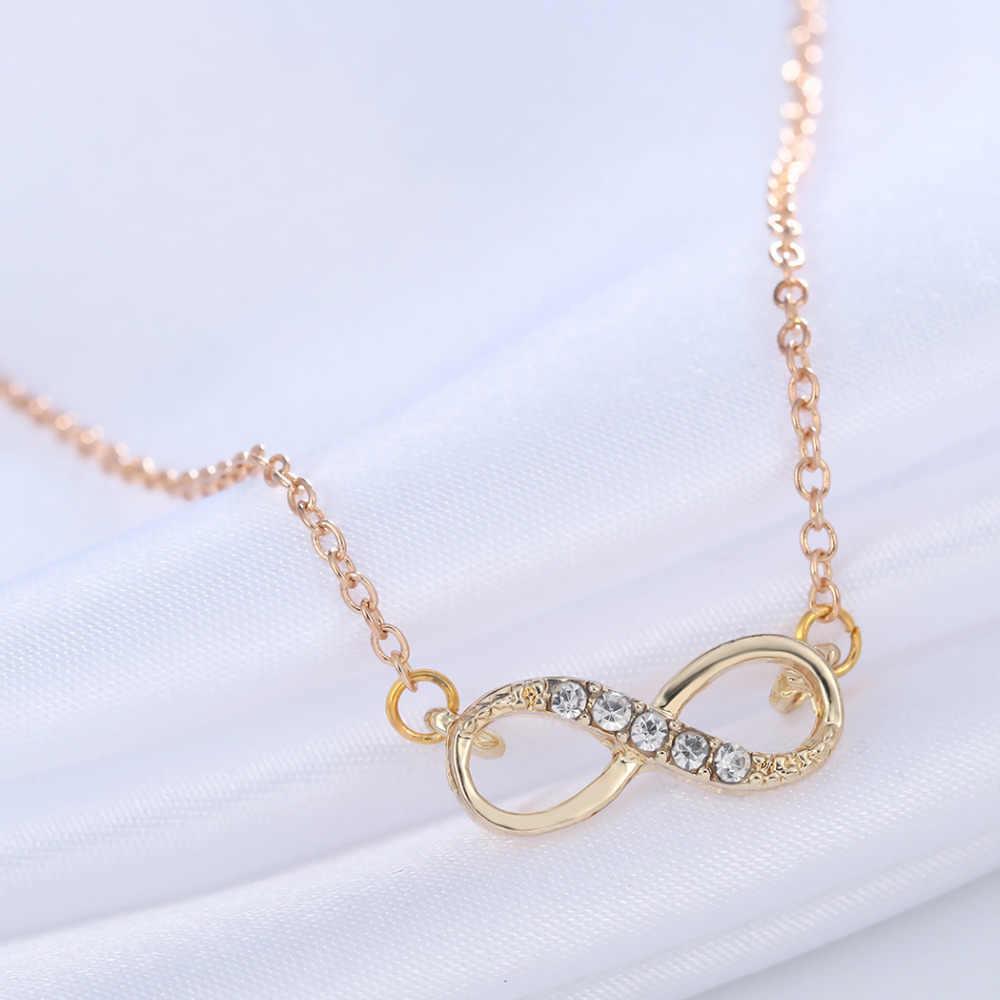 2a26bdee29f8 ... Cxwind chapado en oro plata pequeño infinito colgante collar con circón  infinito amor promesa símbolo encanto ...