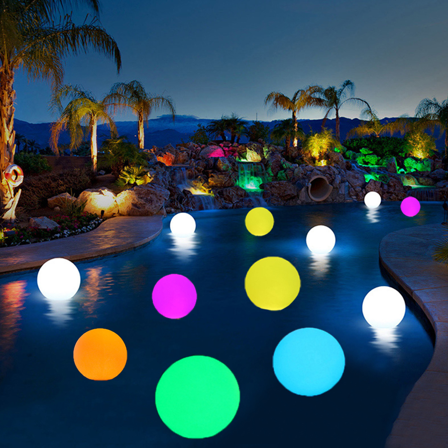 BEIAIDI IP68 RGB LED Floating Swimming Pool Ball light Outdoor Garden Patio Landscape Lawn Light LED illuminated Bar Table Lamp все цены