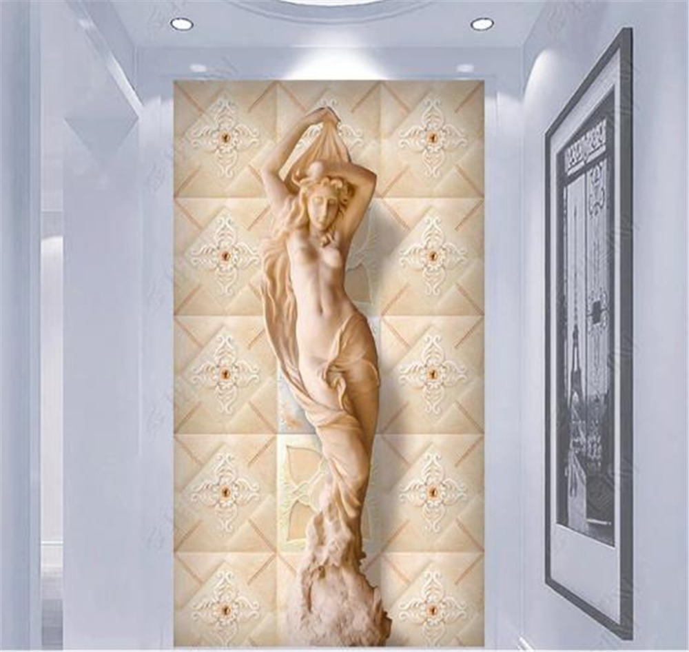 Décoration Murale En Relief us $8.48 47% off|custom wallpaper 3d european style ceramic sandstone  relief half naked beauty indoor porch background wall decoration mural