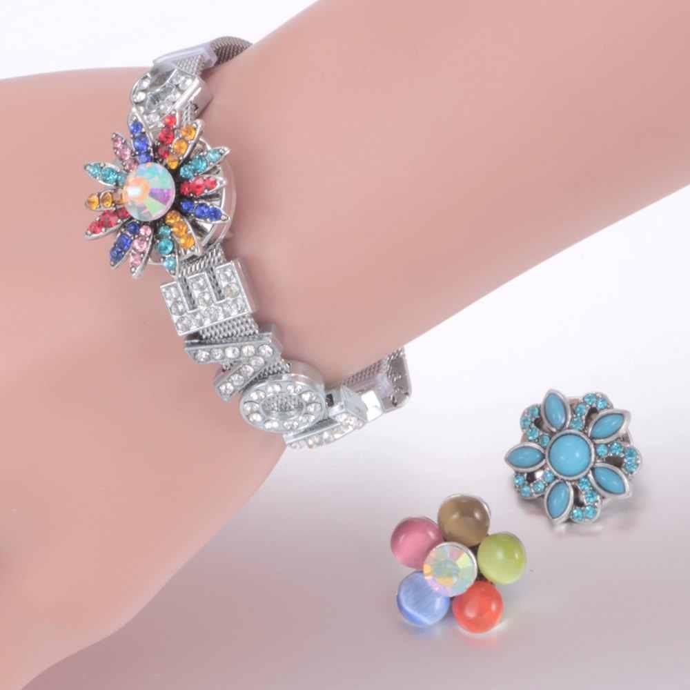 Venta al por mayor 50 unids/lote de brillantes/ópalos/piedras naturales de estilo increíble botones de Metal de 18mm para joyería a presión
