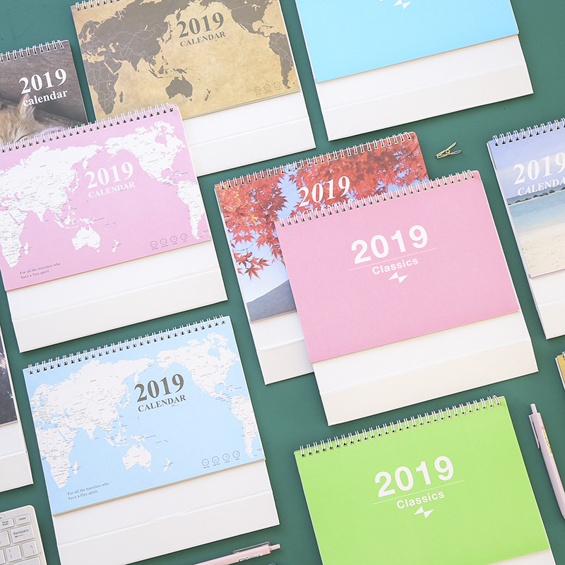 2019 Creative World Map Desk Calendar DIY Cartoon Animals Table Calendars Daily Schedule Planner 2018.09~2019.12 creative english letter world map pattern square shape pillowcase