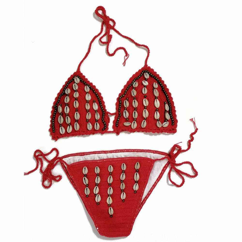 87cc1f564f8 ... Micro bikini solid crochet swimsuit women beads swimwear shell bikini  Brazilian strappy bikinis triangle mini bikinis ...