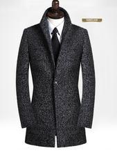 Black grey casual long sleeve wool coat men 2016  trench jackets and coats mens medium-long wool overcoats dress winter S – 9XL