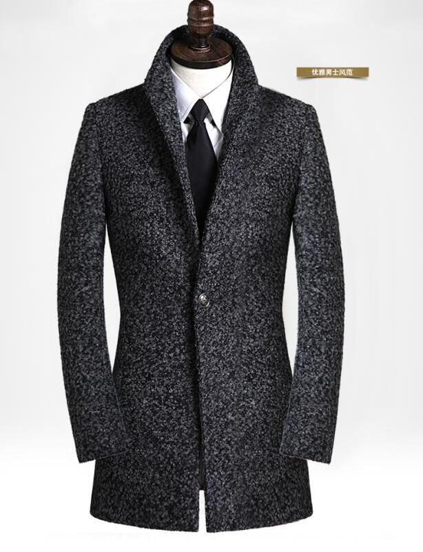Black grey casual long sleeve wool coat men 2020 trench jackets and coats mens medium-long wool overcoats dress winter S - 9XL
