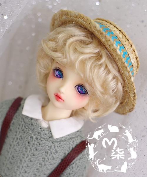 1/6 1/4 1/3 BJD Doll accessories wigs gold short wave hair