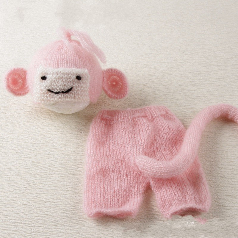 bebe Baby photography accessories Mohair infant toddler monkey sheep cat mermaid costume 0-6month baby photo studio shoot props