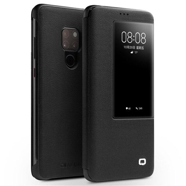 QIALINO יוקרה אמיתי עור Flip Case עבור Huawei Mate 20 אופנתי בעבודת יד Ultra Slim כיסוי עם תצוגה חכמה עבור Mate 20 פרו