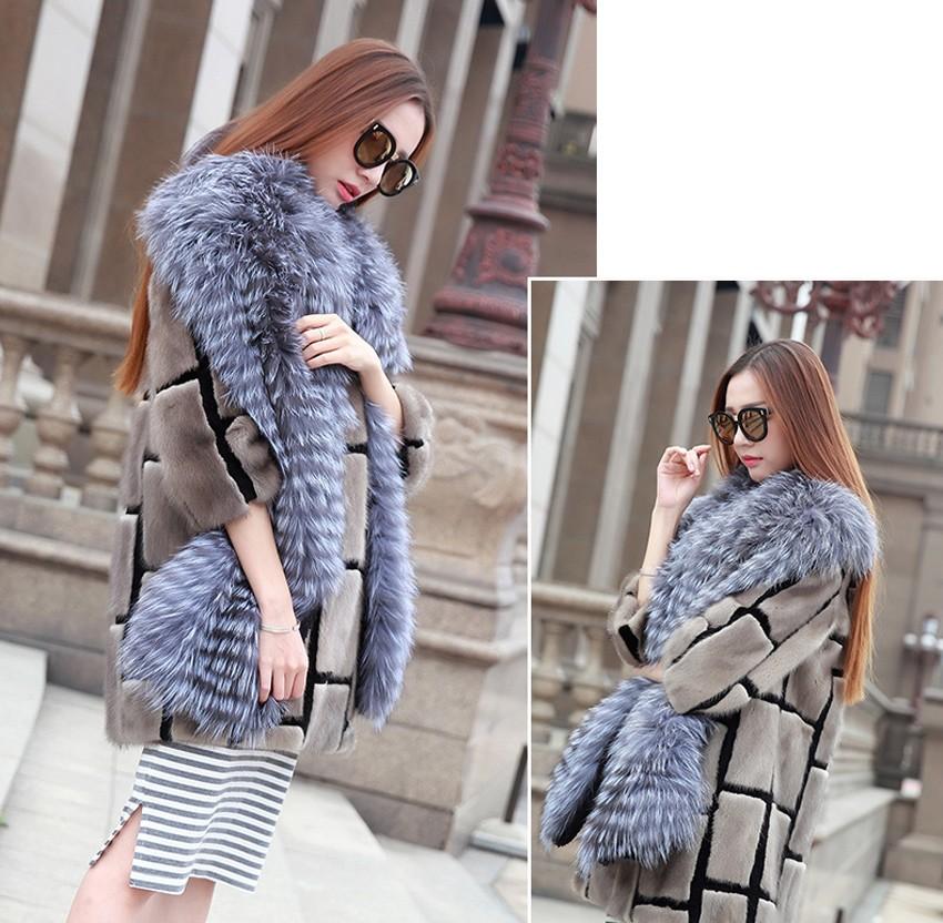 YCFUR Brand Design Fashion Women Scarves Winter Stripes Silver Fox Fur Scarf Female Winter Wraps Scarves Collars Ladies 12