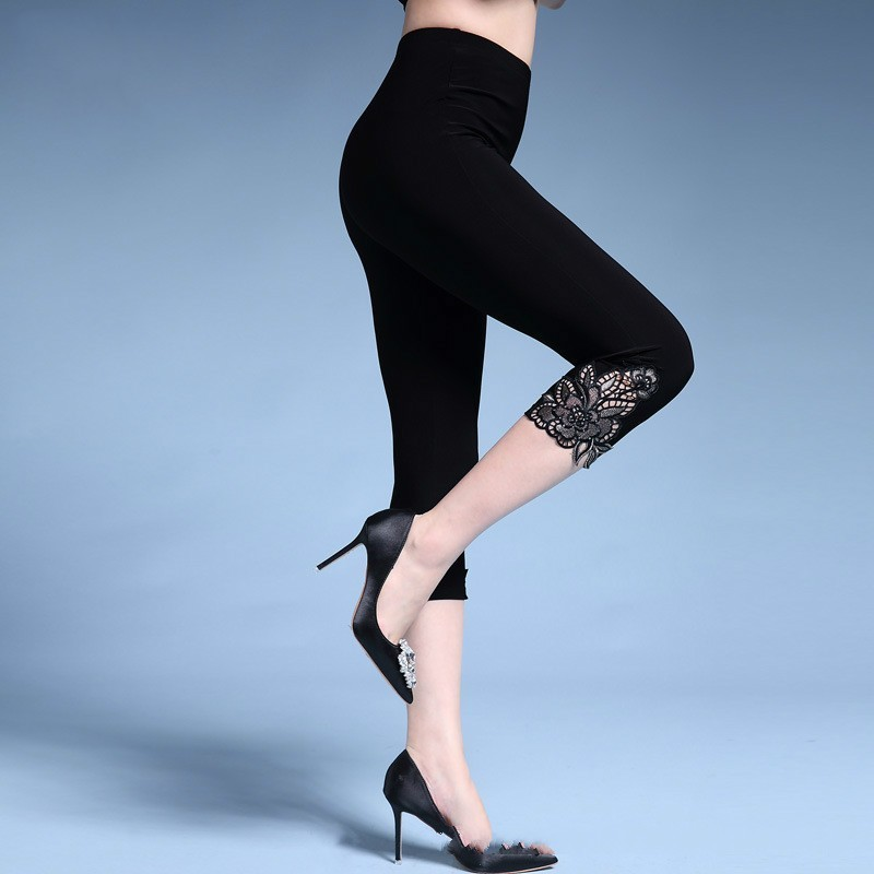 Plus Size Female Elastic Skinny   Pants     Capris   Summer High Waist Women Floral Embroidery Stretch Calf-length Pencil   Pants