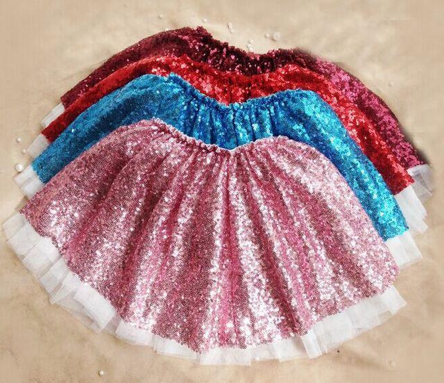 Niños Niñas Lentejuelas Faldas Verano de Las Muchachas Del Tutú Faldas de Encaje Dulce Del Color Del Caramelo Ocasional Partido Faldas