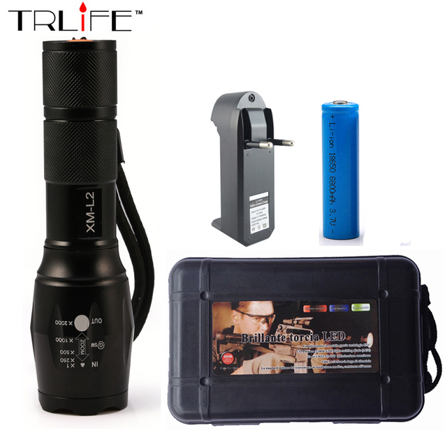 LED CREE XM-L2 Flashlight 6000Lumens Torch Zoomable Tactical Flashlight Camping Light Lamp For 3xAAA or 1x18650