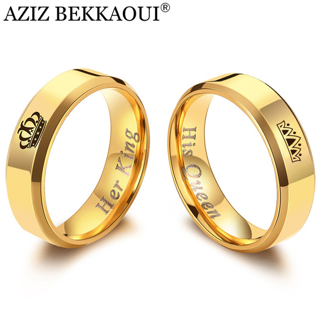 AZIZ BEKKAOUI Her King His Queen Couple Rings Gold Color Crown Stainless Steel R