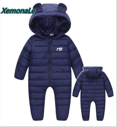Russian winter boys snowsuit Warm Thick infant baby one-pieces romper toddler overalls cotton padded snow suit hooded coveralls russian phrase book