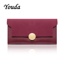 Youda Womens Stitching Color Long Wallet Ring Snap Large Capacity Clutch Bag Fashion Style Wallets Elegant Girl Purse