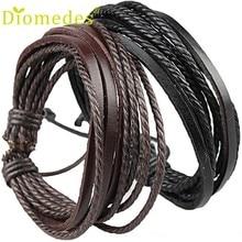 Enrole diomedes pulseiras couro канат продавец плетеный wrap кожаные лучший браслеты
