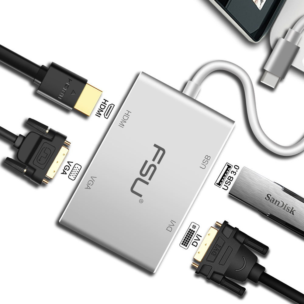 UHD USB C to HDMI + Ethernet + USB 3.0 Type C/F Charging Port Adapter Converter Cable for Macbook 2015 Monitor HDTV 4K
