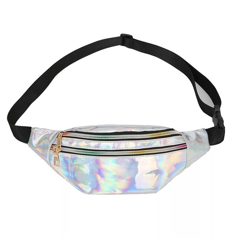 NEW Waist Bags Holographic Women Pink Silver Fanny Pack Female Belt Bag Sac Banane Geometric Waist Packs Laser Chest Phone Pouch