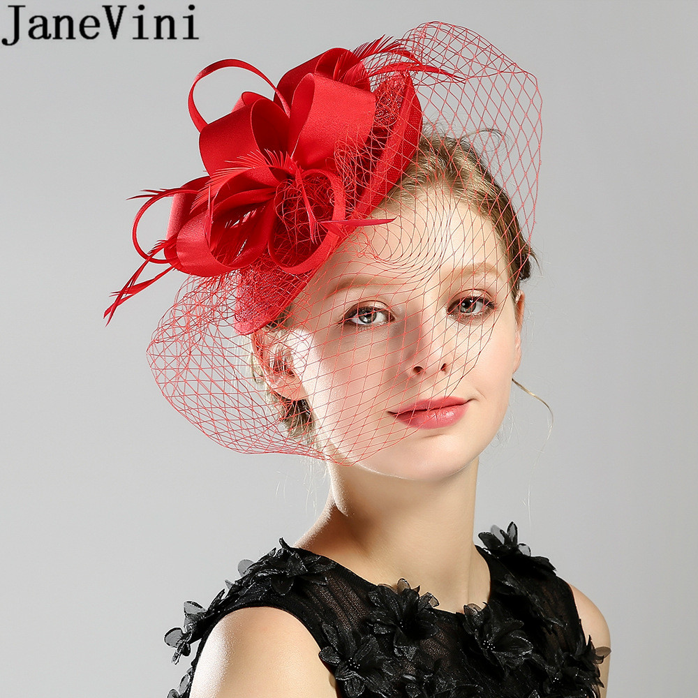 JaneVini Vintage Birdcage Hat Veil White Black Feathers Bridal Fascinator Wedding Hat Headdress Evening Dinner Hair Accessories