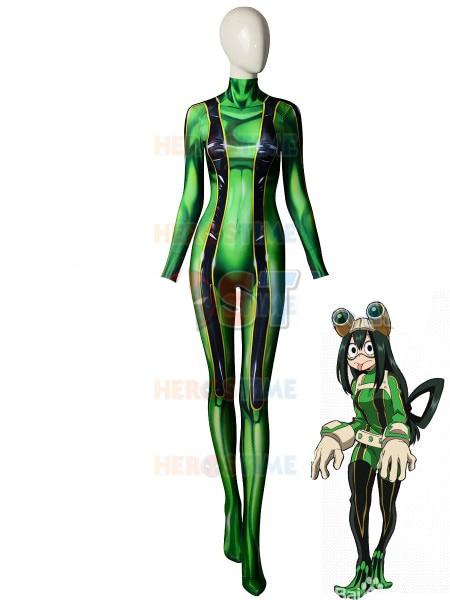 Us 63 76 16 Off Anime Boku No Hero Academia 3d Print Froppy Cosplay Costume My Hero Academia Tsuyu Asui Lycra Spandex Zentai Catsuit Custom In Game