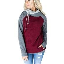 New Hoodies Women Diagonal Zipper Double Cap Stitching Hoodie Plaid Coat Down Jacket Woman Hooded  Crop Sweatshirts