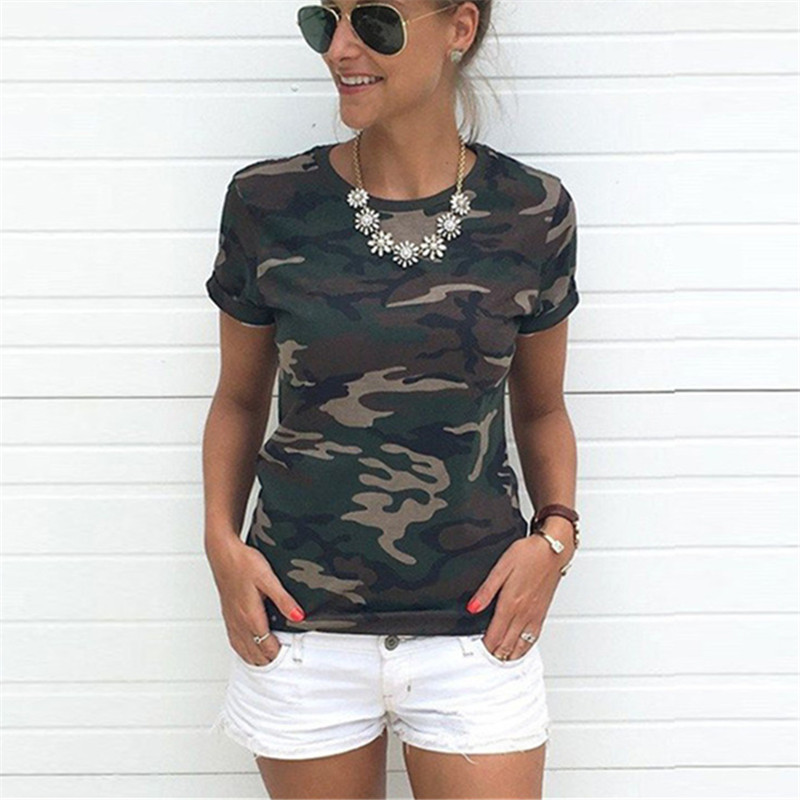 DAYIFUN Summer Camouflage T-shirt For Women New Fashion Summer 2018 Short Sleeve Shirts Tops Women Casual Soft Tops QIN123