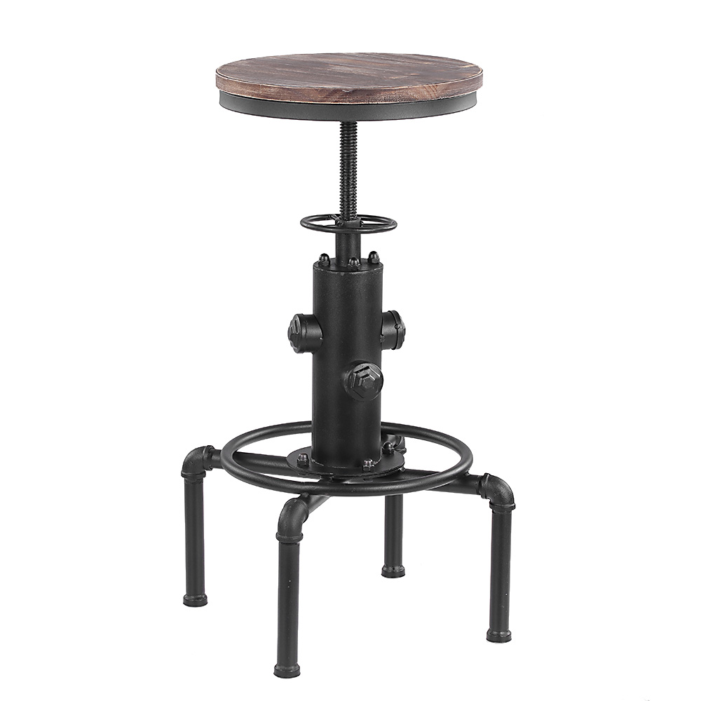 iKayaa Metal Industrial Bar Chairs Height Adjustable Swivel Pinewood Top Kitchen Dining Chair Pipe Style Barstool